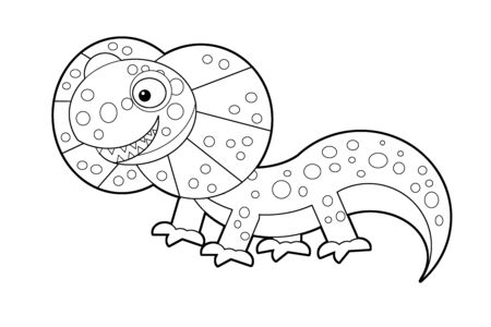 cartoon sketch drawing australian happy and funny lizard isolated on white background- illustration for children