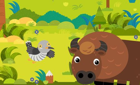 cartoon scene with different european animals in the forest illustration for children Stockfoto