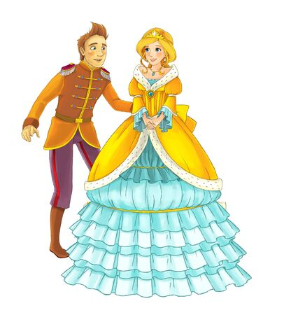 Cartoon cheerful married couple together romantic scene - illustration for children Foto de archivo