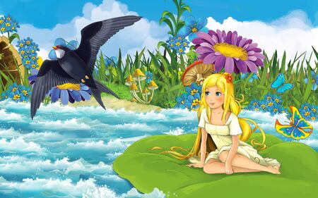 cartoon scene with young beautiful tiny girl in the forest sailing in the river on the leaf with a wild bird - illustration for children 写真素材 - 143705166