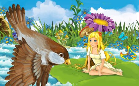cartoon scene with young beautiful tiny girl in the forest sailing in the river on the leaf with a wild bird - illustration for children 写真素材 - 143705181