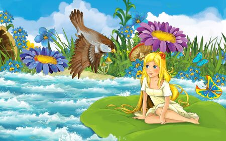cartoon scene with young beautiful tiny girl in the forest sailing in the river on the leaf with a wild bird - illustration for children 写真素材 - 143705188