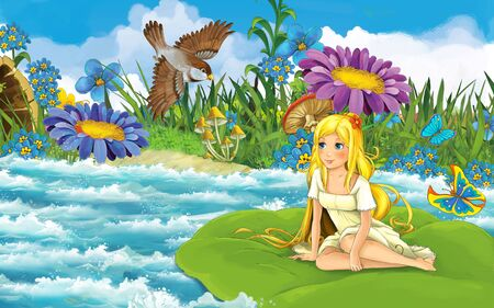 cartoon scene with young beautiful tiny girl in the forest sailing in the river on the leaf with a wild bird - illustration for children 写真素材 - 143705189