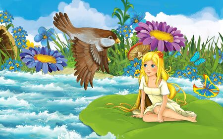 cartoon scene with young beautiful tiny girl in the forest sailing in the river on the leaf with a wild bird - illustration for children 写真素材 - 143705226
