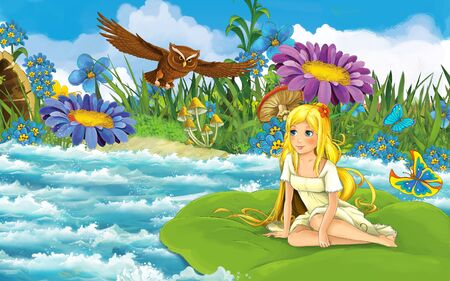 cartoon scene with young beautiful tiny girl in the forest sailing in the river on the leaf with a wild bird - illustration for children 写真素材 - 143705251
