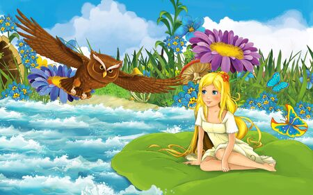 cartoon scene with young beautiful tiny girl in the forest sailing in the river on the leaf with a wild bird - illustration for children 写真素材 - 143705224