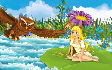 cartoon scene with young beautiful tiny girl in the forest sailing in the river on the leaf with a wild bird - illustration for children 写真素材
