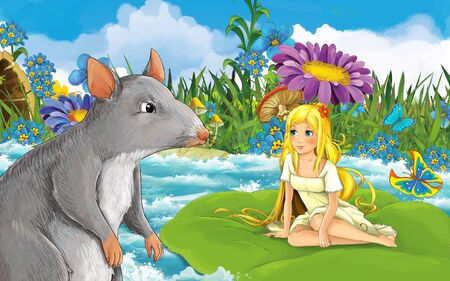 cartoon scene with young beautiful tiny girl in the forest sailing in the river on the leaf with a wild rat or mouse - illustration for children