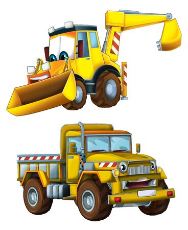 Cartoon excavator and other industrial car - illustration for the children