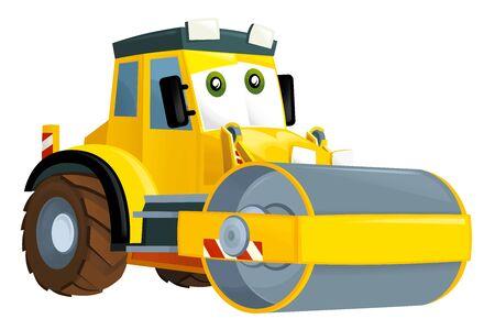 Cartoon road roller on white background - illustration for the children 스톡 콘텐츠