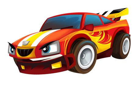 cool looking cartoon racing car hod rod isolated on white background illustration for children