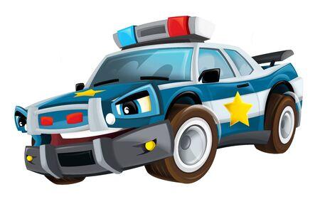 Cartoon smiling police car on white background - illustration for children Stock Photo