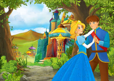 Cartoon nature scene with beautiful castle with prince and princess - illustration for the children