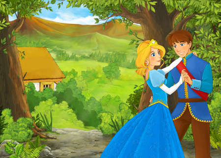 cartoon summer scene with path to the farm village with prince and princess illustration for children 免版税图像 - 151138523