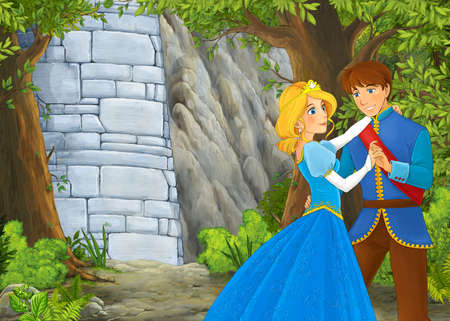 Cartoon nature scene with beautiful castle with prince and princess - illustration for the children 免版税图像 - 151138524