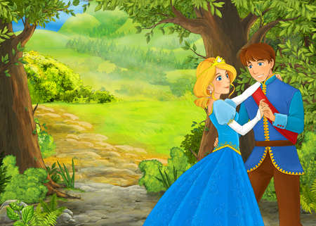 cartoon summer scene with meadow in the forest with prince and princess illustration for children 免版税图像 - 151138525