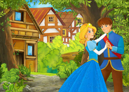 cartoon summer scene with path to the farm village with prince and princess illustration for children