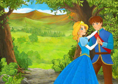 cartoon summer scene with meadow in the forest with prince and princess illustration for children 免版税图像 - 151138527
