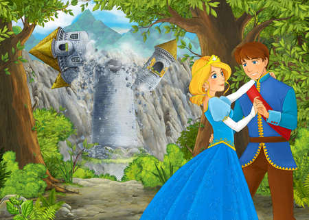 Cartoon nature scene with beautiful castle with prince and princess - illustration for the children 免版税图像 - 151138528