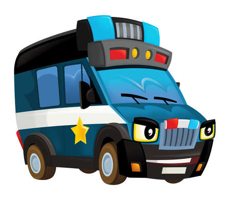cartoon happy and funny smiling police truck - isolated illustration for children