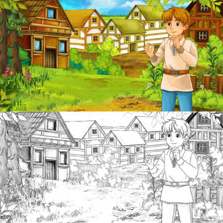 cartoon summer scene with sketch with path to the farm village with farmer boy - illustration for children