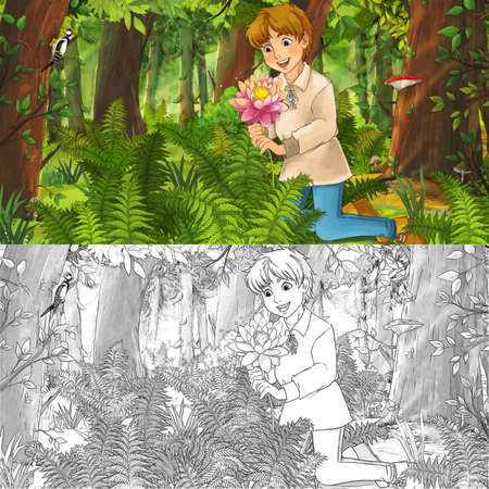 cartoon scene with sketch with happy young boy child prince or farmer in the forest traveling during day - illustration for children