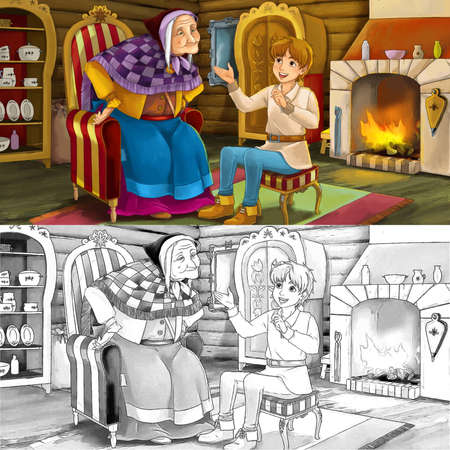 cartoon scene with sketch with mother or grandmother and boy in the farm house - illustration for children 写真素材