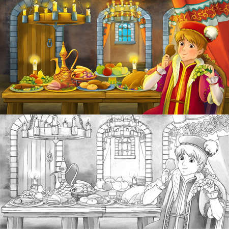 Cartoon fairy tale scene with sketch with prince by the table full of food - illustration for children 写真素材
