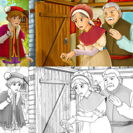 cartoon scene with sketch with farm ranch woman in the farm house - illustration for children