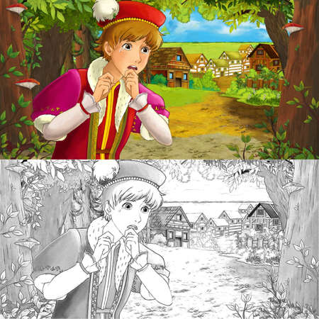 cartoon summer scene with sketch with path to the farm village with prince - illustration for children