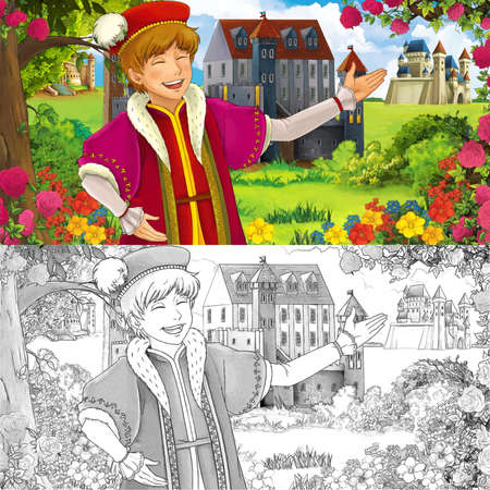 cartoon summer scene with sketch with path to the kingdom castle with prince - illustration for children