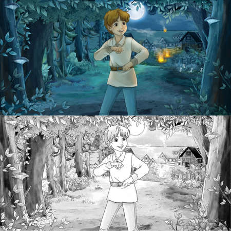 cartoon scene with sketch with happy young boy child prince or farmer in the forest traveling during night - illustration for children