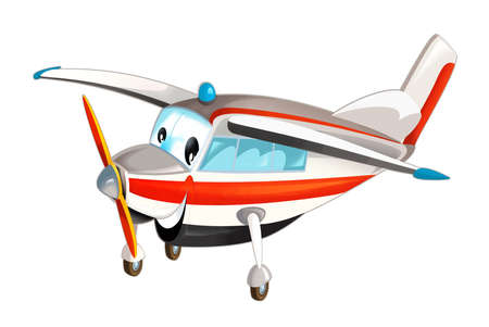 cartoon happy flying plane machine on white background - illustration for children