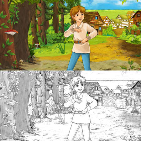 cartoon scene  with happy young boy child prince or farmer in the forest traveling during day - illustration for children Archivio Fotografico - 151281343