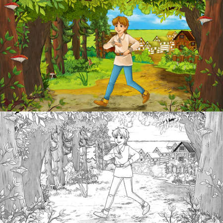 cartoon scene  with happy young boy child prince or farmer in the forest traveling during day - illustration for children Archivio Fotografico