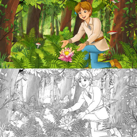 cartoon scene  with happy young boy child prince or farmer in the forest traveling during day - illustration for children Archivio Fotografico - 151281353