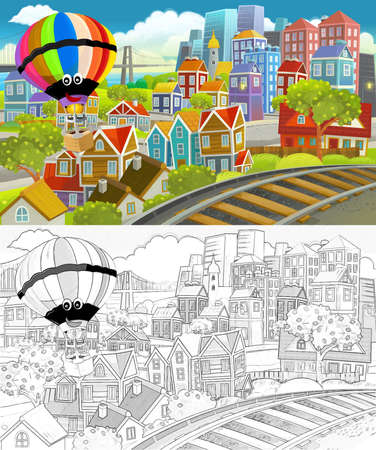 cartoon happy and funny scene with sketch of the middle of a city with flying plane and train locomotive illustration for children Standard-Bild