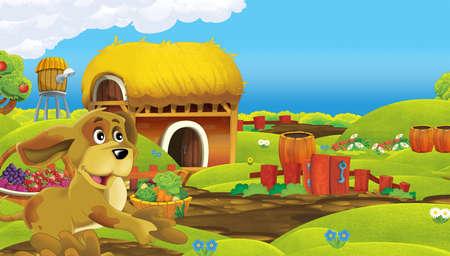 cartoon scene with farm animal on farm ranch meadow - illustration for children Stock fotó