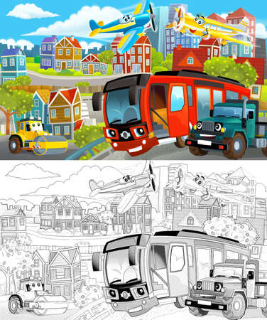 cartoon scene sketch of the middle of a city with cars driving by - illustration for children