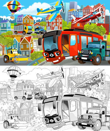 cartoon scene with sketch of the middle of a city with cars driving by - illustration for children Standard-Bild