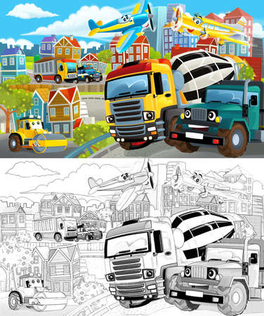 cartoon scene with sketch of the middle of a city with dumper truck and with cars driving by - illustration for children