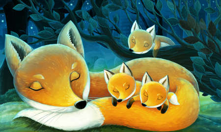 cartoon scene with animals family of foxes in the forest sleeping by night illustration for children Standard-Bild