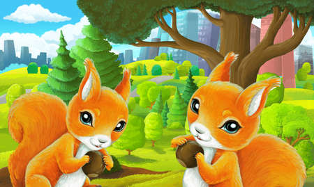 cartoon scene in park outside the city with squirrel holding nut illustration for children