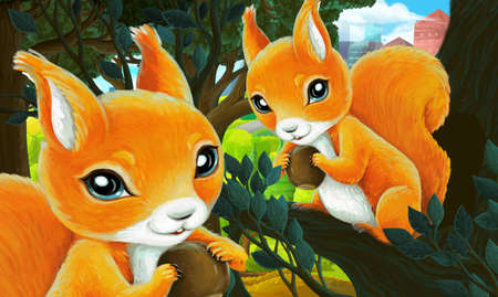 cartoon scene in park outside the city with squirrels holding nut illustration for children Standard-Bild