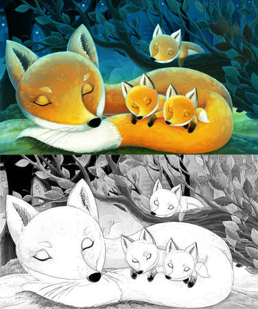 cartoon scene with sketch with animals family of foxes in the forest sleeping by night illustration for children Standard-Bild