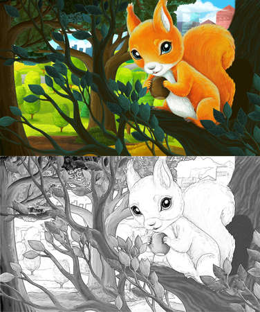 cartoon scene with sketch in park outside the city with squirrels holding nut illustration for children