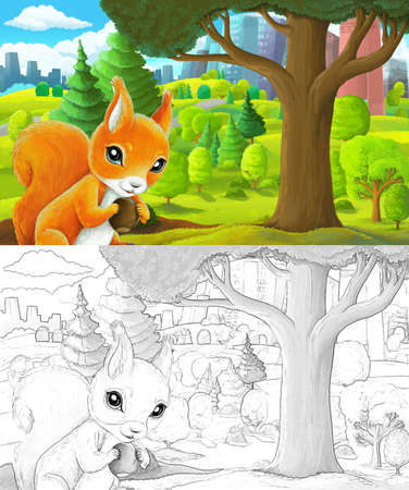 cartoon scene with sketch in park outside the city with squirrel holding nut illustration for children