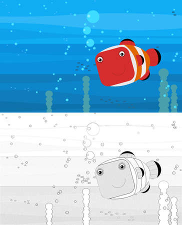 Happy Cartoon underwater scene with sketch with swimming coral reef fish with space for text - illustration for children