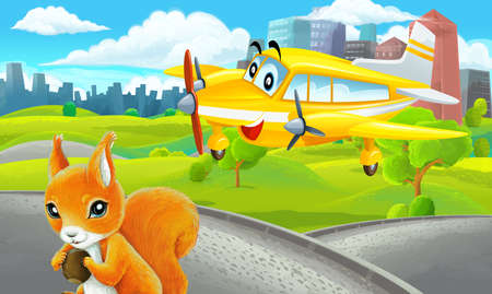 cartoon scene with sketch in park outside the city with private plane flying illustration for children