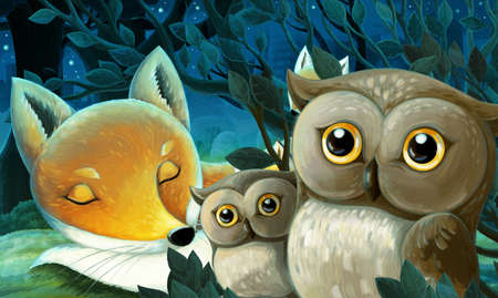 cartoon scene with animals family of foxes in the forest sleeping by night illustration for children Zdjęcie Seryjne